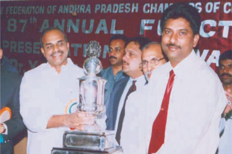 """""""Best Marketing Performance Award"""" Recevied from Honourable Chief Minister of A.P. Dr. Y S Rajasekhar Reddy for the year 200-2004."""